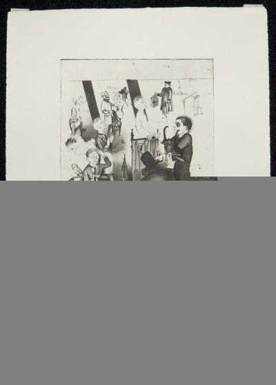 Mephistopheles und der Schüler. Blatt VI, Mappe mit 14 Radierungen (auf 13 Blättern)
