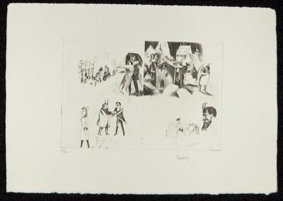 Garten Marthe und Mephistopheles. Margarete und Faust. Blatt IX, Mappe mit 14 Radierungen (auf 13 Blättern)