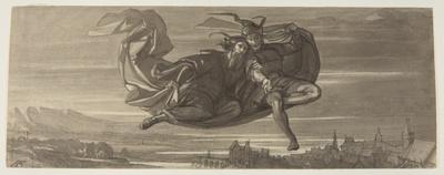Faust und Mephisto fliegen auf dem Zaubermantel durch die Luft