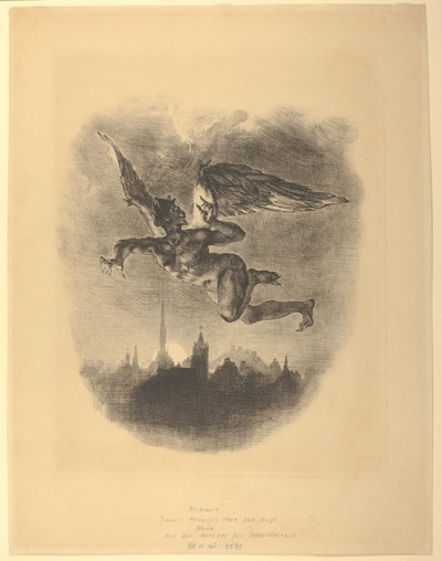Mephisto über der Stadt. Méphistophélès dans les airs
