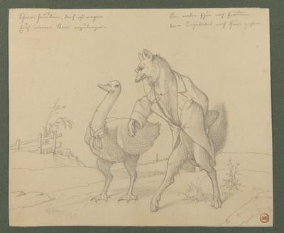 Ein Fuchs bietet einer Gans seinen Vorderlauf an. Parodie auf die erste Begegnung zwischen Faust und Magarete