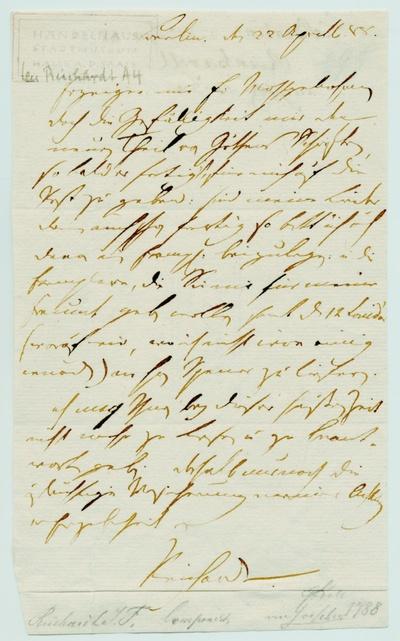 Brief von Johann Friedrich Reichardt an Georg Joachim Göschen