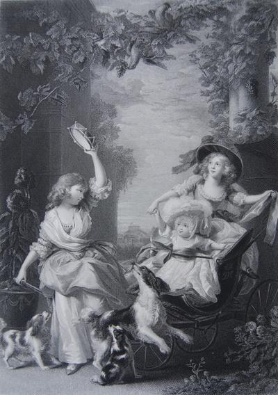 Drei Kinder mit einem Spielwagen