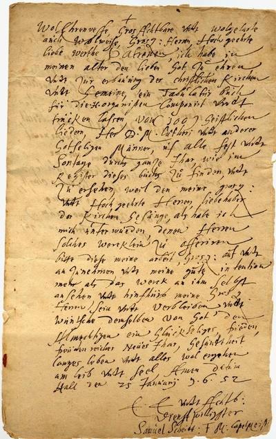 Brief von Samuel Scheidt an den Rat der Stadt Bitterfeld