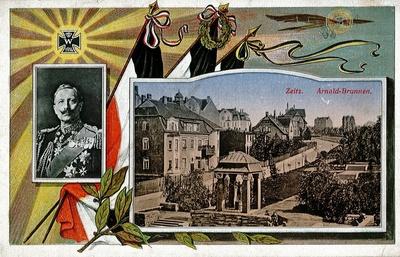 Image from object titled Postkarte mit Kaiser-Porträt und Ansicht vom Zeitzer Altmarkt