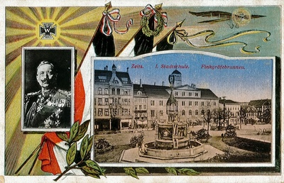 Postkarte mit Kaiser-Porträt und Ansicht vom Zeitzer Altmarkt