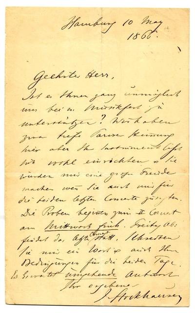 Brief von Julius Stockhausen an einen Musiker