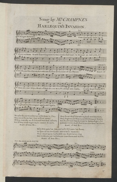 Sung by Mr. Champnes in Harlequin's invasion