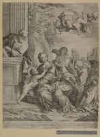 Sacra Famiglia con angeli e strumenti della passione
