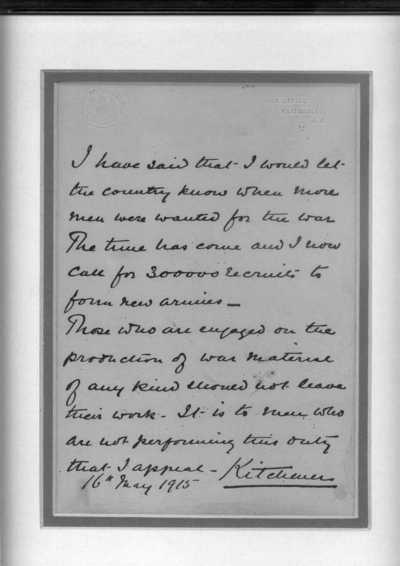 Letter from Lord Kitchener
