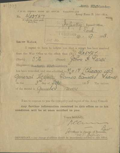 Notification of wounding and hospitalisation of Pte John Peace, Seaforth Highlanders (1)