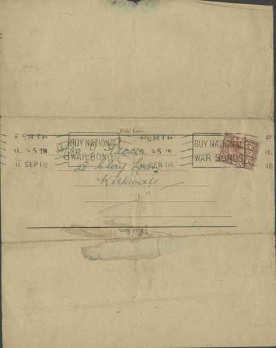 Notification of wounding and hospitalisation of Pte John Peace, Seaforth Highlanders (2)