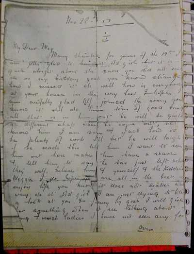 Last known letter from William Barber to his sister (1)