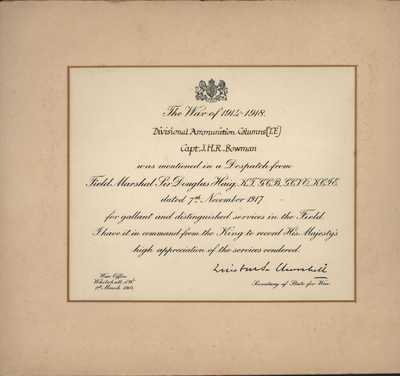 Certificate recording His Majesty's pleasure for the Mention in Despatches for Capt. J.H.R. Bowman