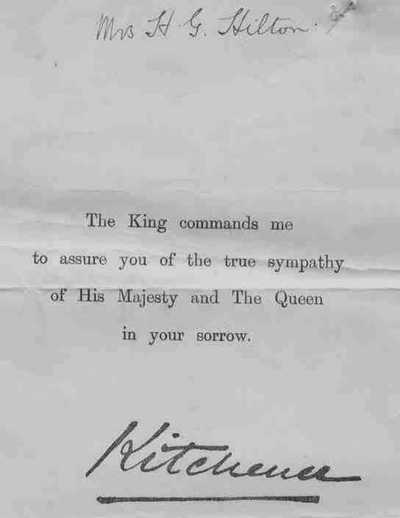 Official Letter of Condolence sent to relatives of Arthur Hilton
