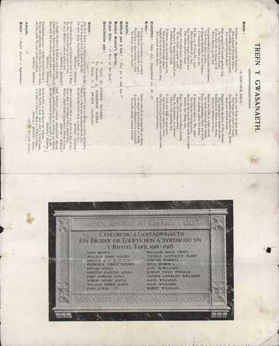 Programme of War Memorial Dedication, relating to William Hugh Owen(s) (2)