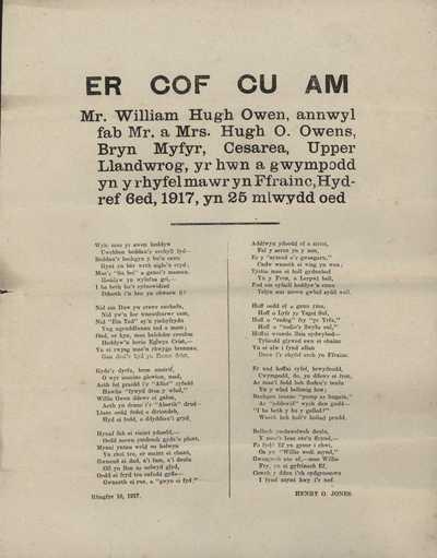 Memorial Service of William Owen(s)