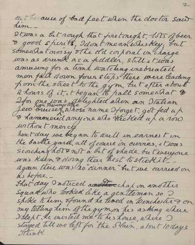 Memoir of Frank Stokes recording his time in training camp (3)