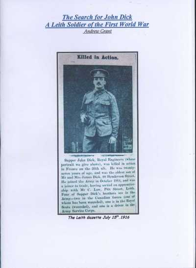 The Search for John Dick: A Leith Soldier of the First World War (1)