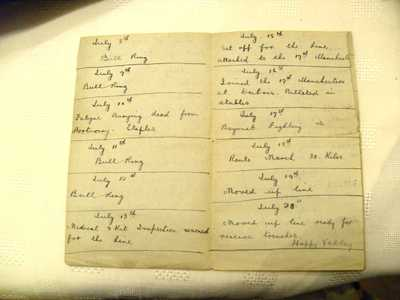 Photographs of the diary of Corporal John Henry Kelty (2)