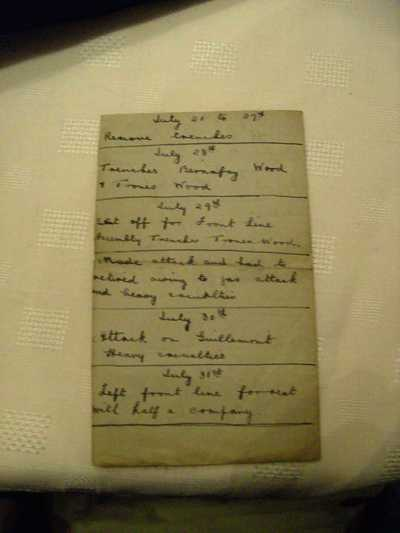 Photographs of the diary of Corporal John Henry Kelty (3)