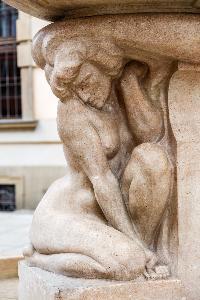 Wrocław - fountain with a swordsman