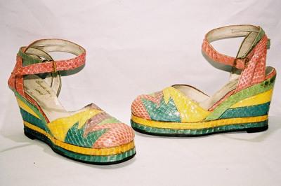 Ladies multi wedged platform sandals by designer Terry de Havilland.