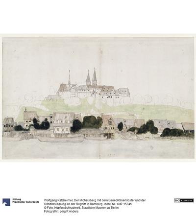 Der Michelsberg mit dem Benediktinerkloster und der Schiffersiedlung an der Regnitz