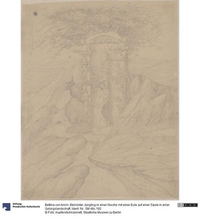 Bekrönter Jüngling in einer Nische mit einer Eule auf einer Säule in einer Gebirgslandschaft