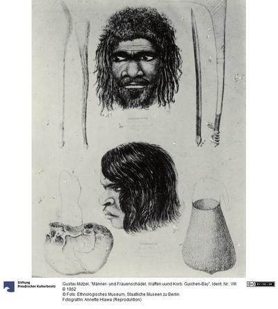 Männer- und Frauenschädel, Waffen uund Korb. Guichen-Bay