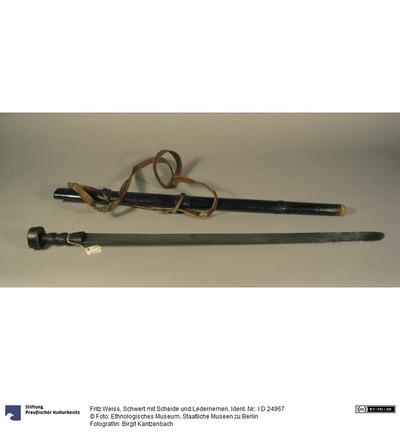 Schwert mit Scheide und Lederriemen