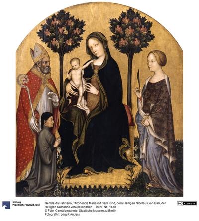 Thronende Madonna mit dem Kind, den Hll. Nikolaus von Bari, Katharina von Alexandrien und einem Stifter