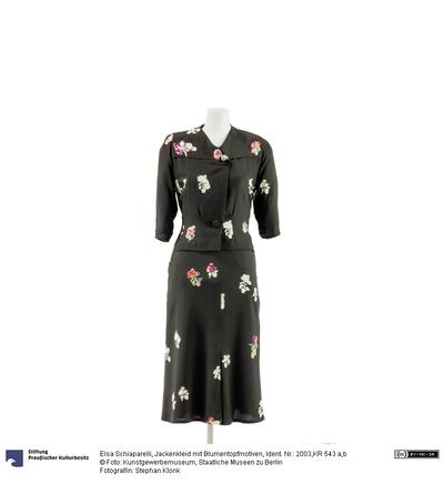 Jackenkleid mit Blumentopfmotiven