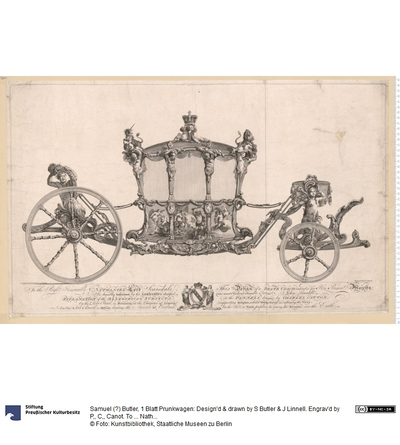 1 Blatt Prunkwagen: Design'd & drawn by S Butler & J Linnell. Engrav'd by P,, C,, Canot. To ... Nathaniel Lord Scarsdale This Design ... Is humbly Inscibed by ... John Linnell. Explanation of the Allegorical Subjects on...