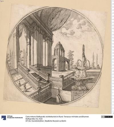 Architekturbild in Rund: Terrasse mit Halle und Brunnen. Buffagnottus Inu. fecit.