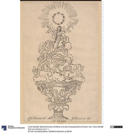 Altarbekrönung mit Maria und den Evangelistensymbolen, bez: Carlo Maratti del.t Ja.s Deacon inc.t. 1765. Ap.d C(harles) R(ogers) Edit.m