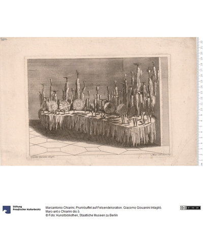Prunkbuffet auf Felsendekoration. Giacomo Giouanini Intagliò. Marc-ant.o Chiarini dis.ò.