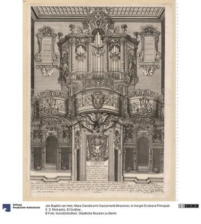 Altare Sanctissimi Sacramenti Miracvlosi, In Insigni Ecclesia Principali S. S. Michaelis, Et Gvdilae, In Vrbe Brvxellensi ... L. et I. B. van Heil delineauit ... Petrus Clouwet sculpsit et excudit Antuerpiae 1662.