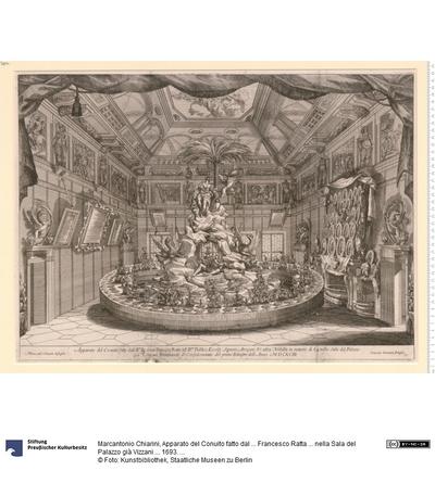 Apparato del Conuito fatto dal ... Francesco Ratta ... nella Sala del Palazzo già Vizzani ... 1693. Marc-ant.o Chiarini dissegnò. Giacomo Giouanini Intagliò.