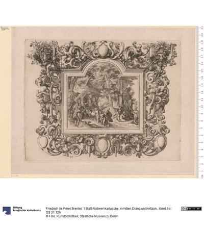 1 Blatt Rollwerkkartusche, inmitten Diana und Aktäon.