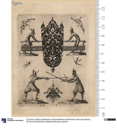(2) Folge: Größere Zierflächen mit Schweiflinien und Ranken (weiß auf schwarz)