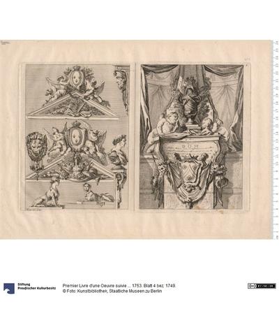 Premier Livre d'une Oeuvre suivie ... 1753. Blatt 4 bez: 1749.