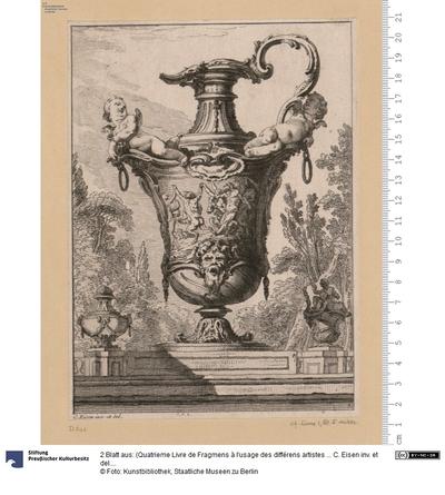 2 Blatt aus: (Quatrieme Livre de Fragmens à l'usage des différens artistes ... C. Eisen inv. et del.)
