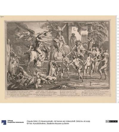 (3) Hexensabbath, mit Versen als Unterschrift. Gillot inv. et sculp.
