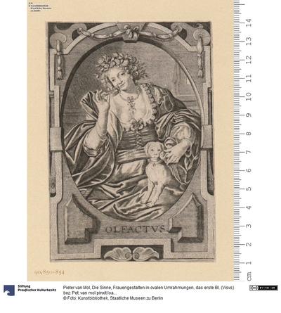 Die Sinne, Frauengestalten in ovalen Umrahmungen, das erste Bl. (Visvs) bez: Pet: van mol pinxit Ioan Galle excudit.