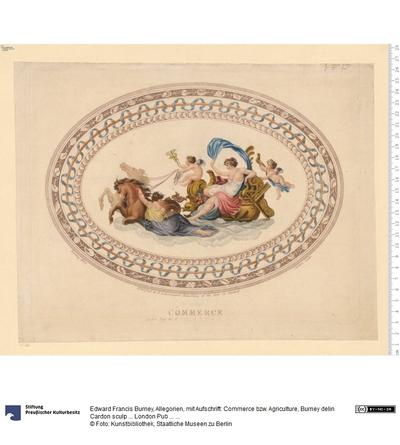 Allegorien, mit Aufschrift: Commerce bzw. Agriculture, Burney delin Cardon sculp ... London Pub ... 1799 at R. Ackermann's ...