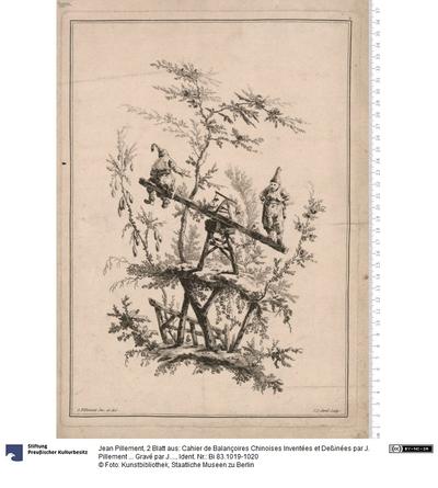 2 Blatt aus: Cahier de Balançoires Chinoises Inventées et Deßinées par J. Pillement ... Gravé par J. J. Avril, a Paris. Chez Dalmon ...