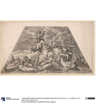 Mythologische Deckenbilder, darauf die Musen, Flora u. a. Laz. Bald. jnu. et pinx. Georg. Szymon. delin. et sculp.