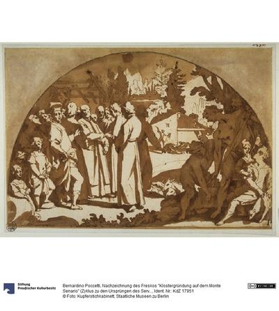 """Nachzeichnung des Freskos """"Klostergründung auf dem Monte Senario"""" (Zyklus zu den Ursprüngen des Servitenordens im Chiostrino dei Morti der Santissima Annunziata in Florenz)"""