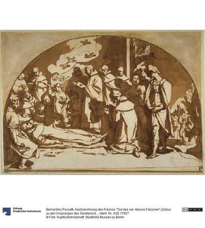 """Nachzeichnung des Freskos """"Tod des sel. Alessio Falconeri"""" (Zyklus zu den Ursprüngen des Servitenordens im Chiostrino dei Morti der Santissima Annunziata in Florenz)"""